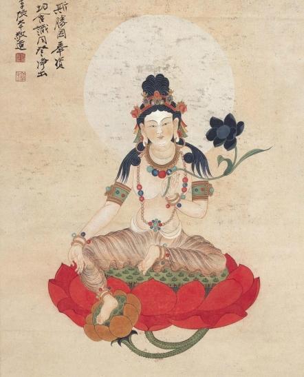 Guanyin portrait by Zhang Daqian. (Image: 163 blog.com)
