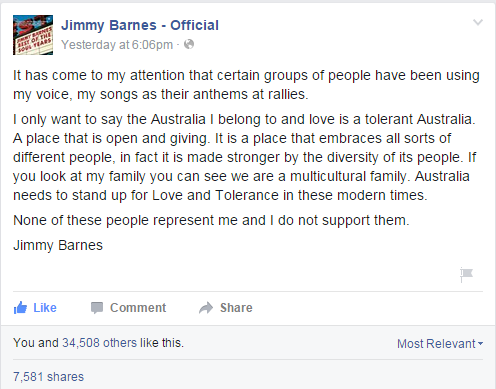 Barnes no longer wants his songs to be used at 'Reclaim Australia' rallies. (Screenshot/Facebook.)