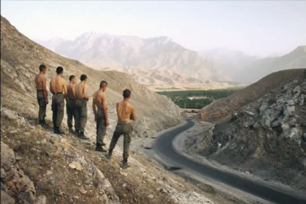 UZBEKISTAN-KYRGHYZSTAN border. Ferghana Valley. 2002. An Uzbek border patrol surveys one of the valley's seven territorial enclaves. The myriad borders of the valley make it hard to control and ideal for smugglers. (Screenshot/YouTube)