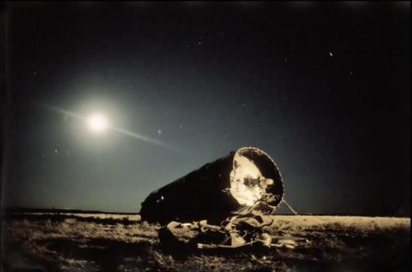 KAZAKHSTAN. 2000. A Soyuz rocket fuel tank lies on the steppe. (Screenshot/YouTube)