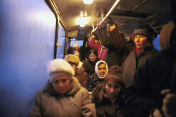 MOLDOVA. Transdniester. 2004. People on a bus commuting to a factory in the cold winter morning. (Screenshot/YouTube)