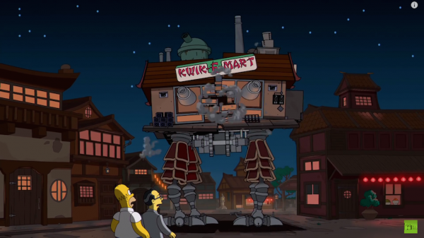 The Kwik-E-Mart as Howl's Moving Castle from Howl's Moving Castle. (Screenshot/YouTube)
