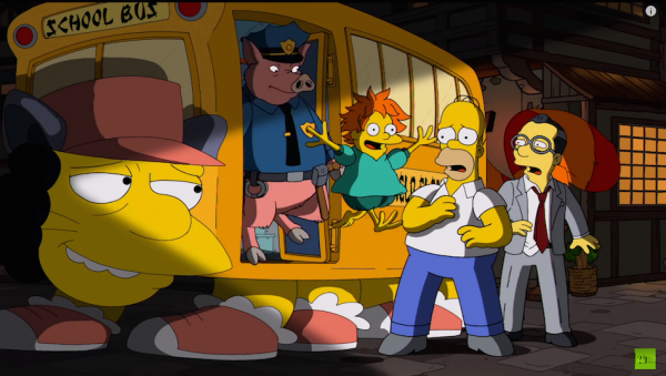 Chief Wiggum as Pig Person from Porco Rosso or Spirited Away. Ralph Wiggum as Ponyo from Ponyo.(Screenshot/YouTube)