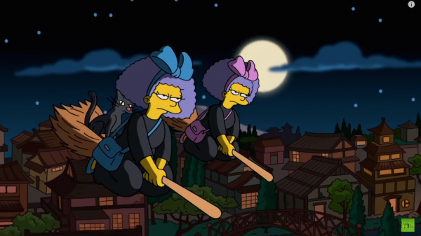 Patty and Selma as Kiki from Kiki's Delivery Service. (Screenshot/YouTube)