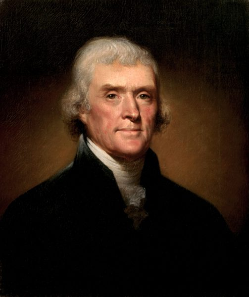 The official White House Portrait of President Thomas Jefferson by Rembrandt Peale, 1805.  (Image: Wikipedia)