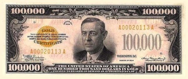 President Woodrow Wilson's portrait on the $100,000 bill which is meant for use only among Federal Reserve Banks.  (Image: Wikipedia)