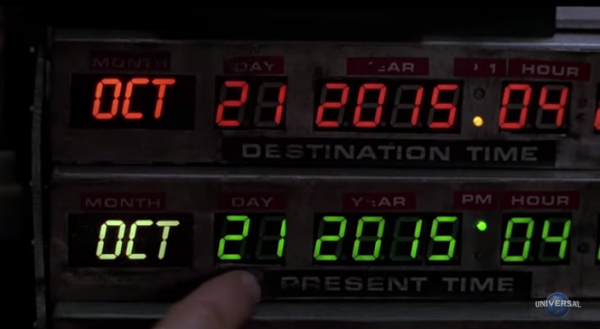 Marty and Doc travel to October 21, 2015, which is when the film will be re-released. (Screenshot/YouTube.)