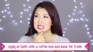 Apply bi-carb and lemon paste to teeth with a cotton-tip (Image:AsianBeautySecrets/YoutubeScreen shot)