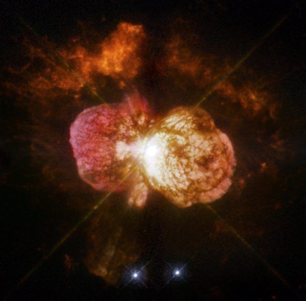 Eta Carinae, the most luminous and massive stellar system within 10,000 light-years, is best known for an enormous eruption seen in the mid-19th century that hurled at least 10 times the sun's mass into space.
