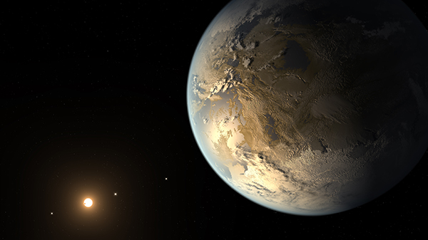 The artist's concept depicts Kepler-186f, the first validated Earth-size planet to orbit a distant star in the habitable zone—a range of distance from a star where liquid water might pool on the planet's surface. The discovery of Kepler-186f confirms that Earth-size planets exist in the habitable zones of other stars and signals a significant step closer to finding a world similar to Earth. (Image: NASA Ames/JPL-Caltech/T. Pyle)