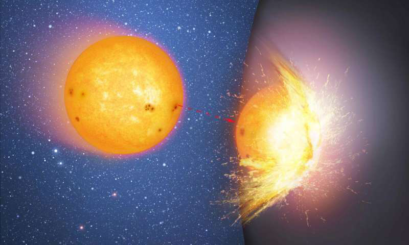The first in a sequence of two artist's impressions that shows a huge, massive sphere in the center of a galaxy, rather than a supermassive black hole. Here a star moves towards and then smashes into the hard surface of the sphere, flinging out debris. The impact heats up the site of the collision. (Image: via Mark A. Garlick/CfA)