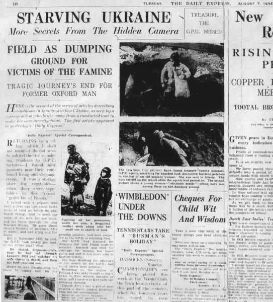 One of the more accurate news reports on what occurred during Stalin's secret famine that killed millions. (Image: Wikipedia Commons)