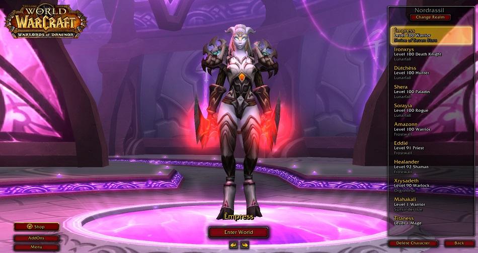"""Xrysa's Level 100 warrior avatar """"Empress""""."""