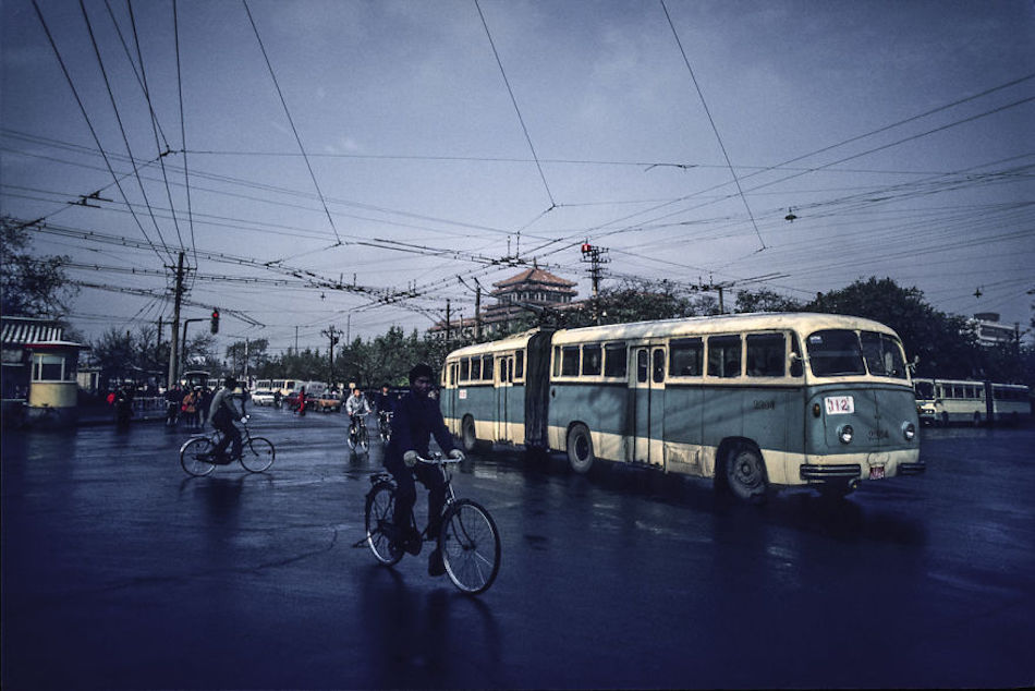 Trolleybus In Front Of The National Art Museum, Beijing, 1987. (Photographer: Alex NG)