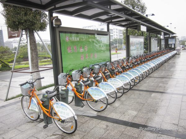 "Beijing Huayaodi Technology Ltd. launched the ""3Vbike"" bike-sharing in China's 3rd-tier cities by placing more than one thousand bicycles in service. (Image: Brqdley Schroeder via flickr CC BY-SA 2.0)"