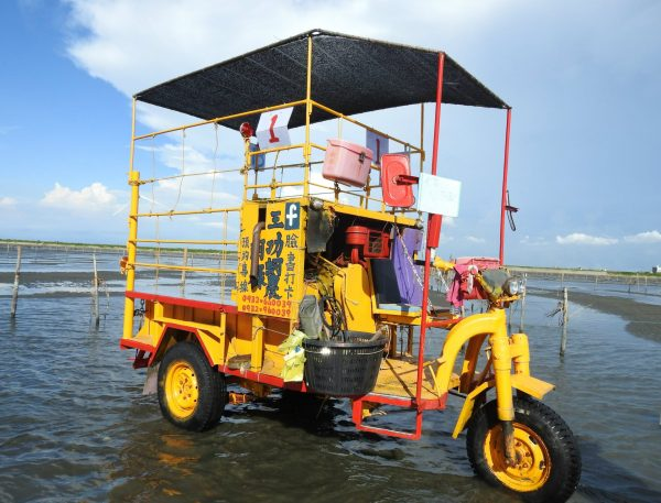 A unique three-wheel oyster truck that transports visitors to the intertidal zone in Wanggong. (Image: Billy Shyu/ Vision Times)