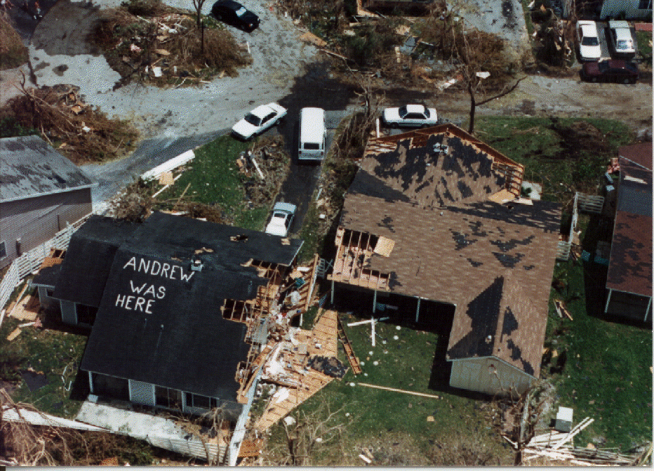 Hurricane Andrew, 1992. (Image credit: By National Hurricane Center (http://www.nhc.noaa.gov/gifs/1992andrew1.gif) [Public domain], via Wikimedia Commons)