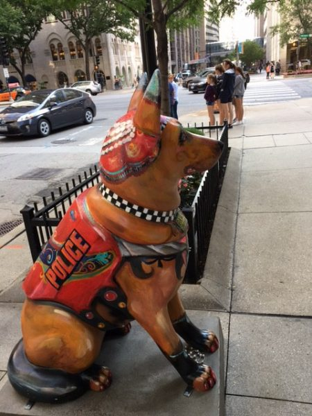 """Fiberglass dog statues are part of the K9 for cops' campaign"""", founded to pay tribute to the canine unit and honor fallen Chicago police officers. (Photo credit: Nina Yeung)"""
