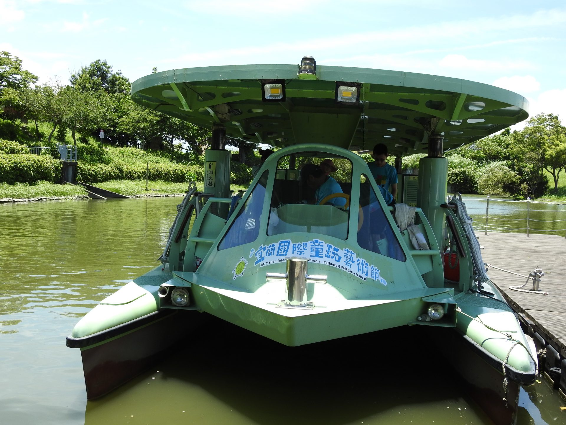 The motor boats plying between NCFTA and Dongshan River Park are are solar powered and the height of the roof on the boats are adjustable. (Image: Billy Shyu)
