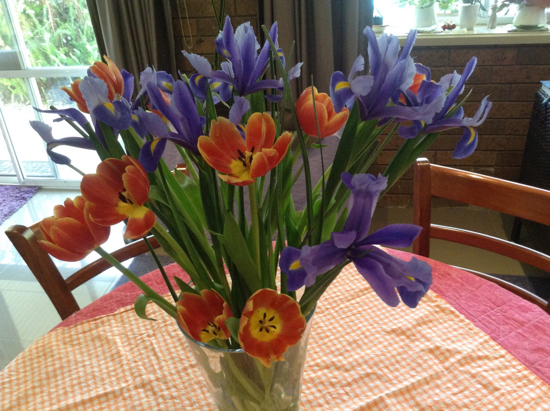 Cut flowers of Tulips and Dutch Iris'. By Trisha Haddock