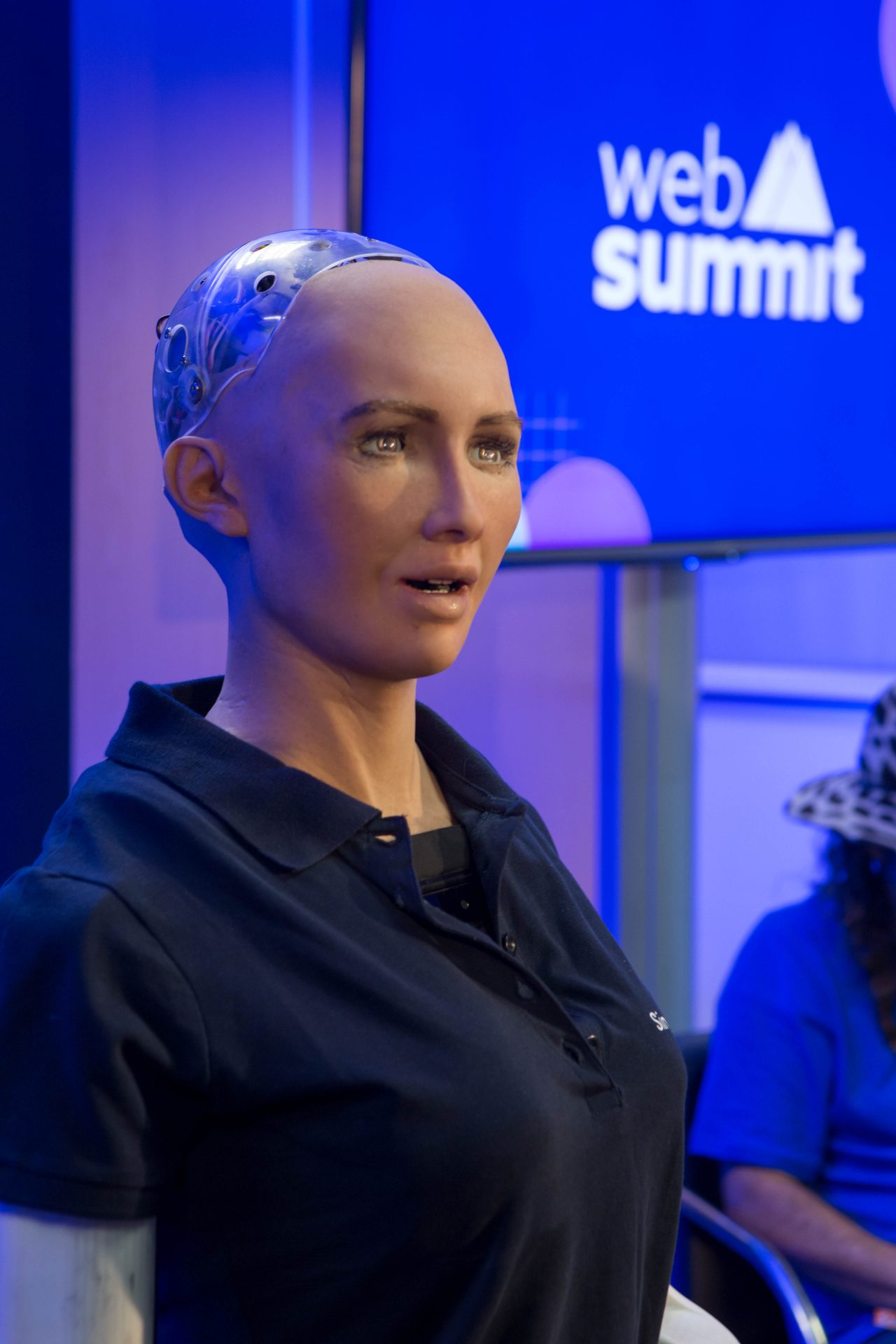 """Sofia, the front line AI, in the race to create the first self thinking, walking and talking Artificial Intelligence Entity """"online"""". (Photo Credit: Hermann Rohr for the Vision Times)"""