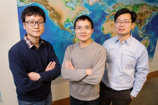 From left: Jiashun Hu, graduate student; Quan Zhou, graduate student; and Lijun Liu, professor of geology. (Image: via L. Brian Stauffer )