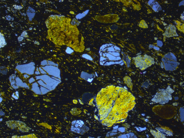 Thin section view of meteoritic ejecta deposit site 1. Note fractured quartz and pervasive fabric. Field of view 4 mm XPolars. (Credit: Simon Drake)