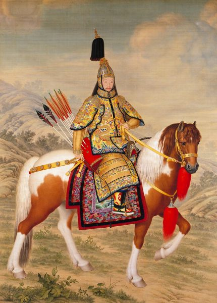 Emporer Qianlong in ceremonial armor on horseback. (Image: By Giuseppe Castiglione - MondoMostre, Public Domain, https://commons.wikimedia.org/w/index.php?curid=773934)