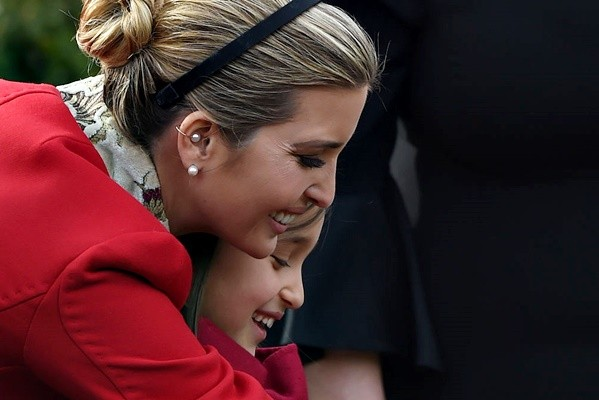 Ivanka Trump (L) hugs her daughter Arabella Rose Kushner before the turkey pardoning ceremony at the White House in Washington, DC on November 21, 2017. (ANDREW CABALLERO-REYNOLDS/AFP/Getty Images)