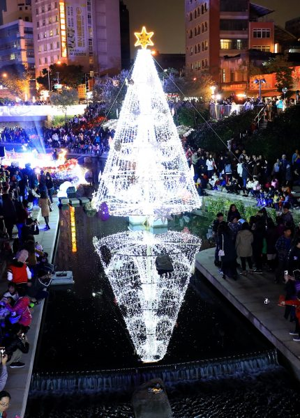 The unique water Christmas tree in Taiwan's Taichung City (Image: Taichung City Government)