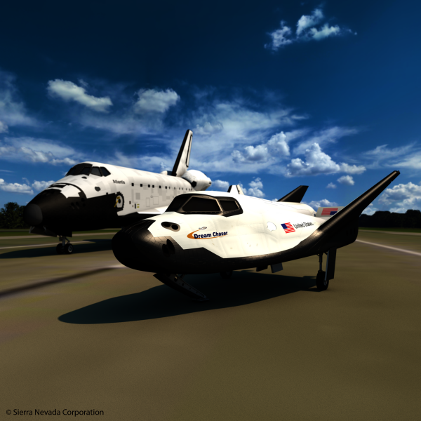 The Dream Chaser space plane looks remarkably like the space shuttles of yesteryear, with a few changes to the exterior design. (Image: SNC / CC0 1.0)