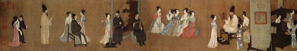 A half-section of the Song Dynasty (960–1279) version of the Night Revels of Han Xizai, original by Gu Hongzhong; the female musicians in the center of the image are playing transverse bamboo flutes and guan, and the male musician is playing a wooden clapper called the paiban. (Image: wikimedia / CC0 1.0)
