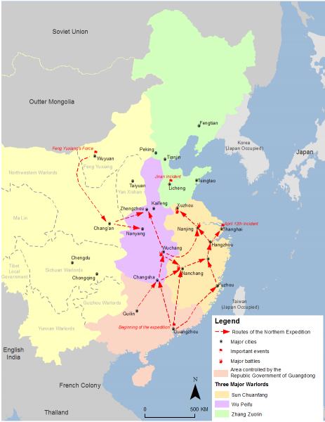 Map of the Northern Expedition; Wu Peifu's territory is shown in purple. (Image: SY via wikimedia CC BY-SA 4.0)