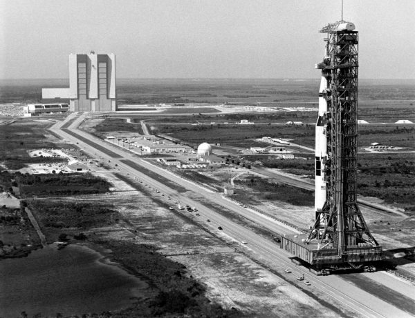 The 363-foot-high Saturn V rocket for the Apollo 10 mission.