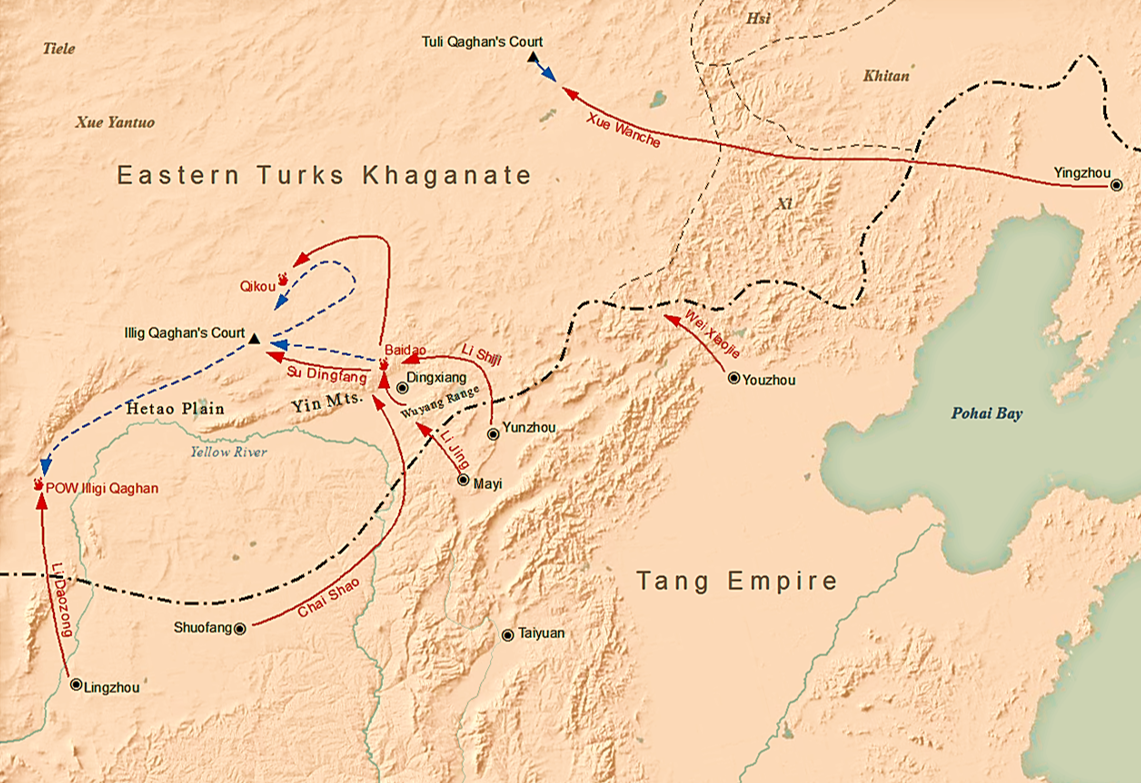 Tang dynasty's campaign against the Eastern Turks in 630 under Li Jing's command. (Image: SY via wikimedia CC BY-SA 4.0)