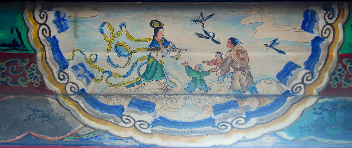 The reunion of the the cow herder Niu Lang and the Weaver Maiden on the Bridge of Magpies. Artwork in the Long Corridor of the Summer Palace in Beijing. (Image: wikimedia / CC0 1.0)