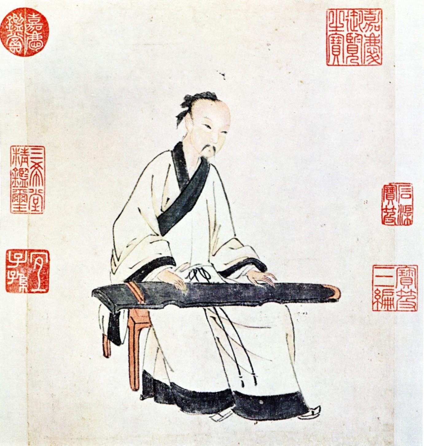 Yang Jijing (杨季静) playing a guqin by the painter Wen Boren, National Palace Museum, Taipei. (Image: wikimedia / CC0 1.0)