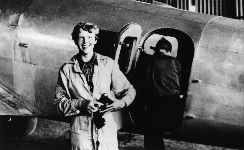 A historic seamstress took the measurements, which included the inseam length and waist circumference of Earhart's trousers. (Image: via wikimedia / CC0 1.0)