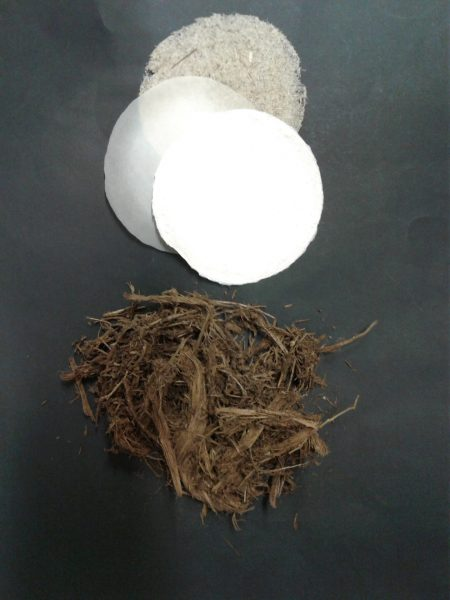Paper (top) can be made from cellulose derived from elephant manure (bottom). Credit: Kathrin Weiland