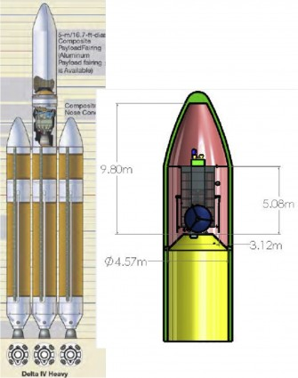 The 8.8-ton conceptual HAMMER spacecraft (right) is designed to fit within the Delta IV Heavy, the world's second highest-capacity launch vehicle in operation, surpassed only by SpaceX's Falcon Heavy rocket. (Provided by: Lawrence Livermore National Laboratory)