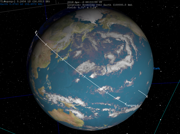 The final orbit of Tiangong-1 above the Pacific Ocean with 10 minute markers. (Image: Tomruen via wikimedia CC BY-SA 4.0)