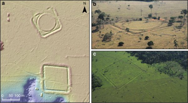Geoglyphs and mounded ring villages. a LiDAR digital terrain model of the Jacó Sá site showing geometric ditched enclosures, walled enclosures and avenues. Scale bar=100m. b Aerial photo of one of the structures at Jacó Sá site. c Aerial photo of Fonte Boa site showing a mounded ring village with radiating roads (right) built next to an earlier geometric enclosure (left). Aerial photographs are part of the collection of CNPq research group Geoglyphs of Western Amazonia directed by Denise Schaan. Image: Nature Communications