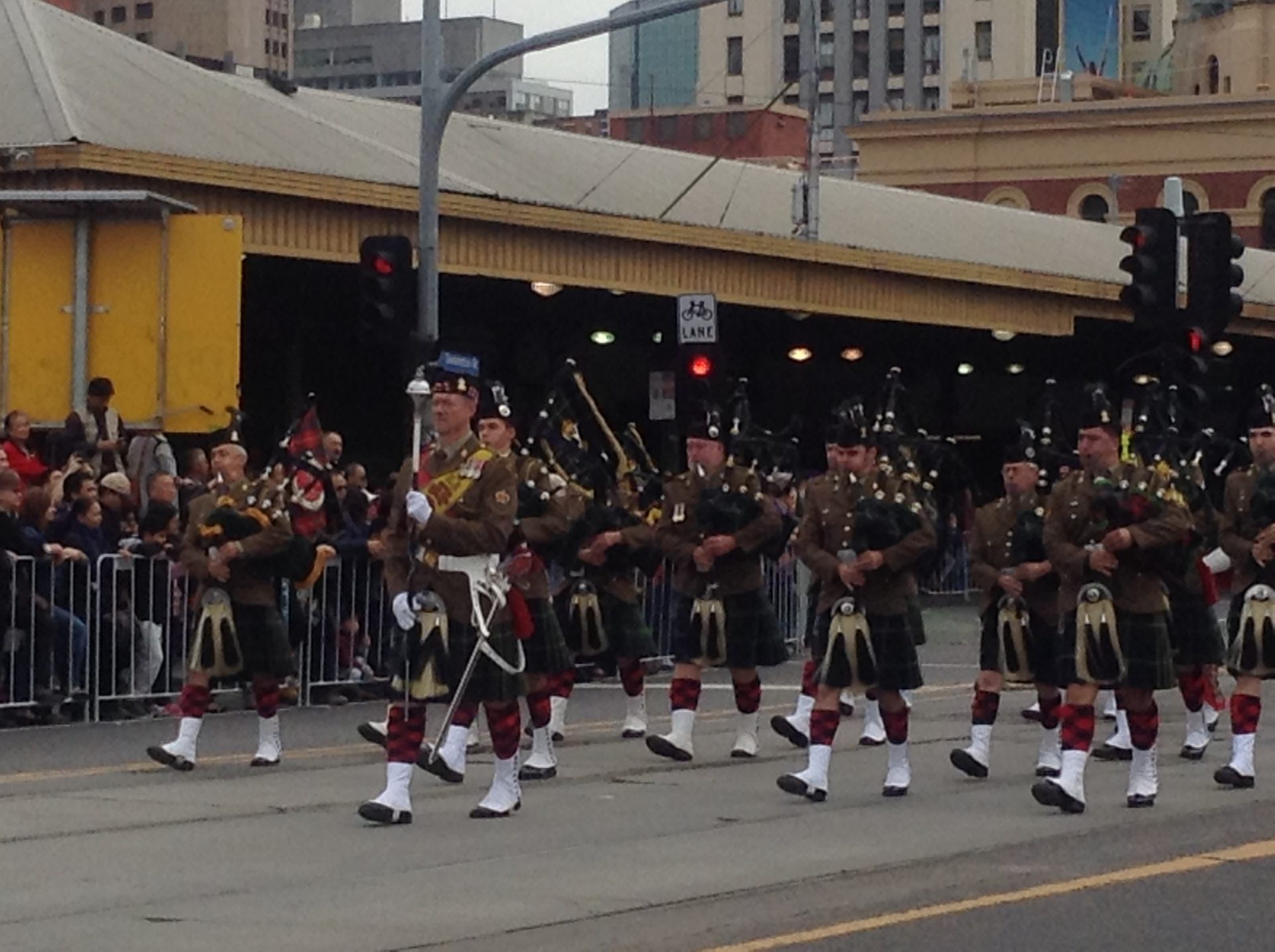 Photo by Trisha Haddock. Anzac Day Parade with 5/6 RVR Pipes and Drums.