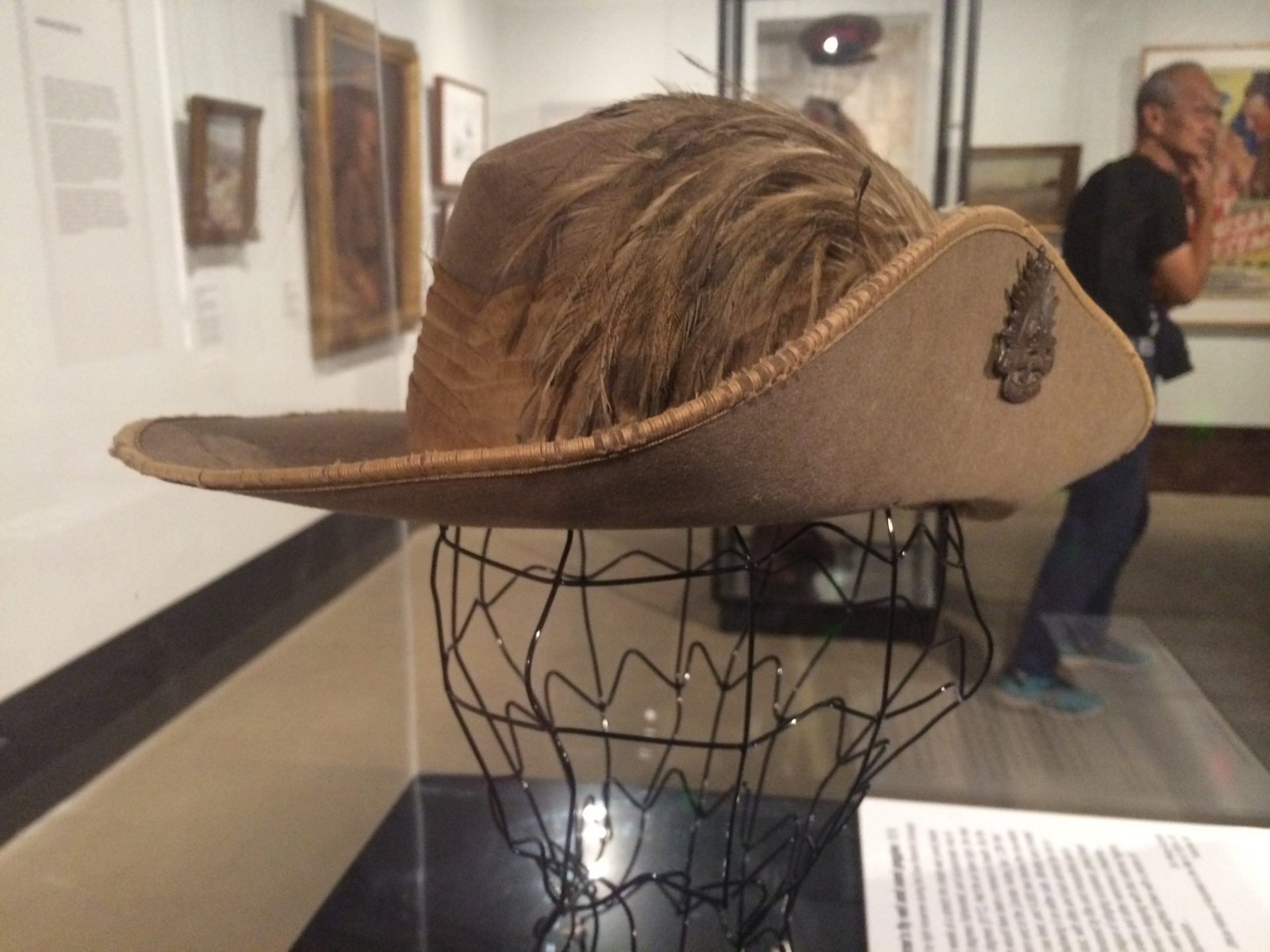 Photo by Trisha Haddock. Emu-plumed slouched hat. c 1917. Belonging to Trooper of the 9th Australian Light Horse Regiment. On display inside the Shrine of Remembrance.