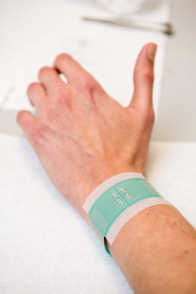 The patch can be attached to the wrist to measure blood glucose without piercing the skin. (Credit: University of Bath)
