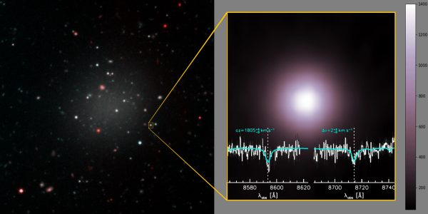 Left: The ultra-diffuse galaxy is rich in globular clusters, which hold the key to understanding this mysterious object's origin and mass. Right: A closer look at one of the globular clusters within the galaxy, which are all much brighter than typical, the brightest emitting almost as much light as the brightest within the Milky Way. The spectrum, obtained by Keck Observatory shows the absorption lines used to determine the velocity of this object. Ten clusters were observed, providing the information needed to determine the mass of the galaxy, revealing its lack of dark matter. Image credit: Gemini Observatory/NSF/AURA/Keck/Jen Miller/Joy Pollard