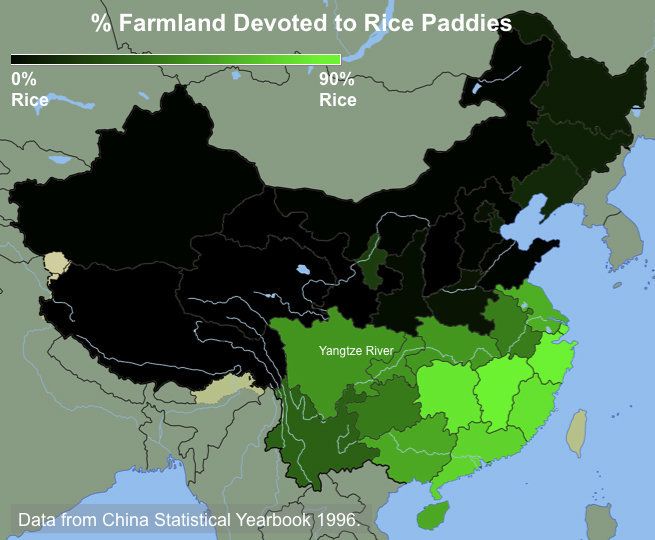 The percentage of cultivated land devoted to rice paddies in provinces across China. Southern China has traditionally farmed rice, while northern China has farmed wheat and other dryland crops like millet. (Credit: Thomas Talhelm)