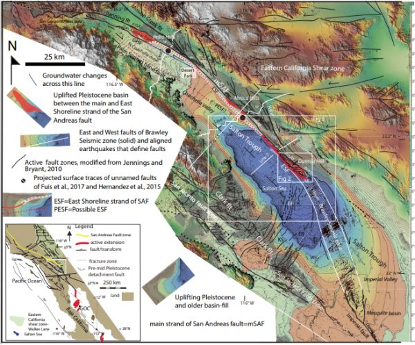Map showing the faults and uplifting late Cenozoic basin fill (gray) of southeastern California. Click on the image for a larger version; high-resolution versions of all figures are available. (Image: Geological Society of America)