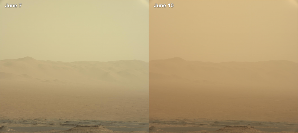 """Two images from the Mast Camera (Mastcam) on NASA's Curiosity rover depict the change in the color of light illuminating the Martian surface since a dust storm engulfed Gale Crater. The left image shows the """"Duluth"""" drill site on Sol 2058 (May 21); the right image is from Sol 2084 (June 17). (Image: NASA )"""