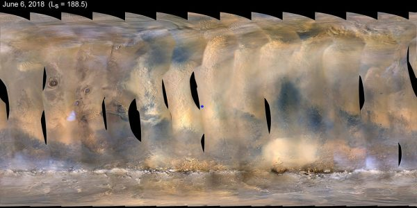 This global map of Mars shows a growing dust storm as of June 6, 2018. The map was produced by the Mars Color Imager (MARCI) camera on NASA's Mars Reconnaissance Orbiter spacecraft. The blue dot indicates the approximate location of Opportunity. (Image: NASA)